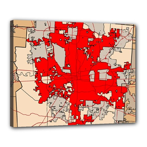 Map Of Franklin County Ohio Highlighting Columbus Canvas 20  X 16