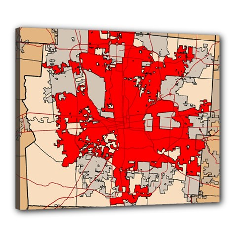 Map Of Franklin County Ohio Highlighting Columbus Canvas 24  X 20