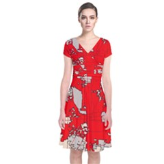 Map Of Franklin County Ohio Highlighting Columbus Short Sleeve Front Wrap Dress
