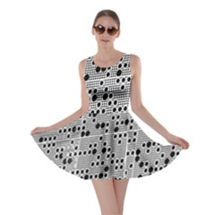 Metal Background Round Holes Skater Dress