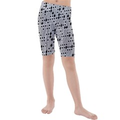 Metal Background Round Holes Kids  Mid Length Swim Shorts