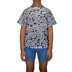 Metal Background Round Holes Kids  Short Sleeve Swimwear