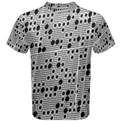 Metal Background Round Holes Men s Cotton Tee