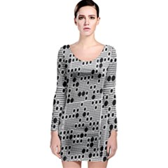 Metal Background Round Holes Long Sleeve Bodycon Dress