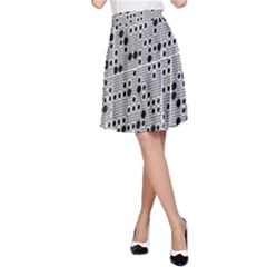 Metal Background Round Holes A Line Skirt