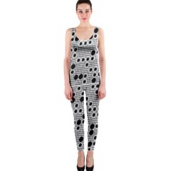 Metal Background Round Holes Onepiece Catsuit