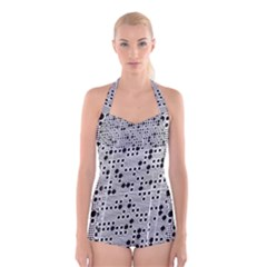 Metal Background Round Holes Boyleg Halter Swimsuit