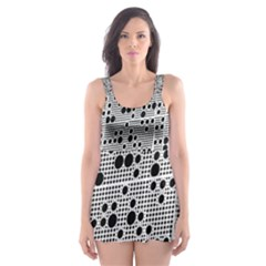 Metal Background Round Holes Skater Dress Swimsuit