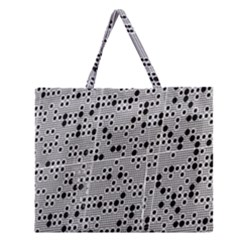 Metal Background Round Holes Zipper Large Tote Bag