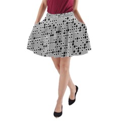 Metal Background Round Holes A Line Pocket Skirt