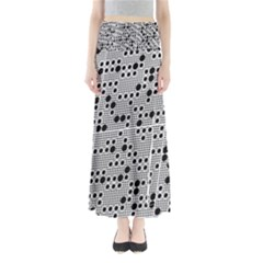 Metal Background Round Holes Maxi Skirts