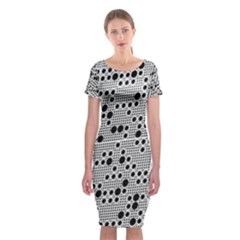 Metal Background Round Holes Classic Short Sleeve Midi Dress