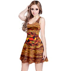 Orange Seamless Psychedelic Pattern Reversible Sleeveless Dress