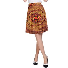 Orange Seamless Psychedelic Pattern A Line Skirt