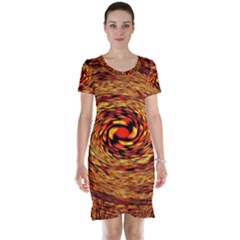 Orange Seamless Psychedelic Pattern Short Sleeve Nightdress