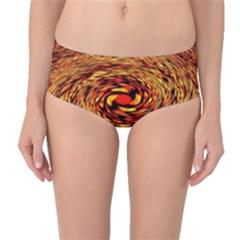 Orange Seamless Psychedelic Pattern Mid Waist Bikini Bottoms