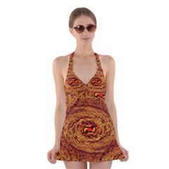 Orange Seamless Psychedelic Pattern Halter Swimsuit Dress