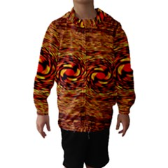 Orange Seamless Psychedelic Pattern Hooded Wind Breaker (kids)