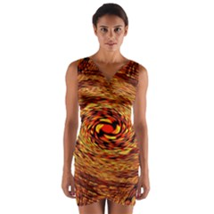 Orange Seamless Psychedelic Pattern Wrap Front Bodycon Dress