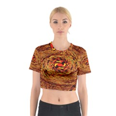 Orange Seamless Psychedelic Pattern Cotton Crop Top