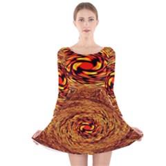 Orange Seamless Psychedelic Pattern Long Sleeve Velvet Skater Dress