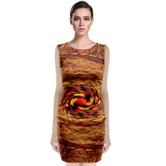 Orange Seamless Psychedelic Pattern Classic Sleeveless Midi Dress