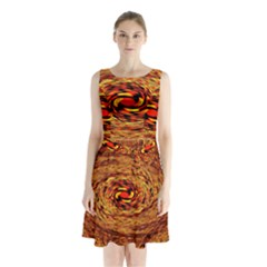 Orange Seamless Psychedelic Pattern Sleeveless Chiffon Waist Tie Dress