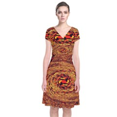 Orange Seamless Psychedelic Pattern Short Sleeve Front Wrap Dress