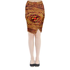 Orange Seamless Psychedelic Pattern Midi Wrap Pencil Skirt