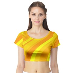 Orange Yellow Background Short Sleeve Crop Top (tight Fit)