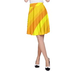 Orange Yellow Background A Line Skirt