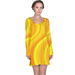 Orange Yellow Background Long Sleeve Nightdress