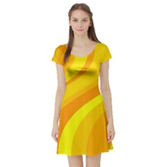 Orange Yellow Background Short Sleeve Skater Dress