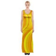Orange Yellow Background Maxi Thigh Split Dress