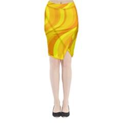 Orange Yellow Background Midi Wrap Pencil Skirt