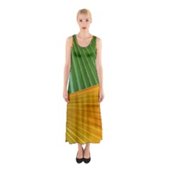Pattern Colorful Palm Leaves Sleeveless Maxi Dress
