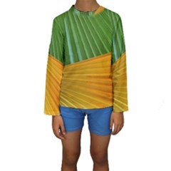Pattern Colorful Palm Leaves Kids  Long Sleeve Swimwear