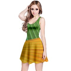 Pattern Colorful Palm Leaves Reversible Sleeveless Dress