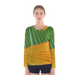 Pattern Colorful Palm Leaves Women s Long Sleeve Tee
