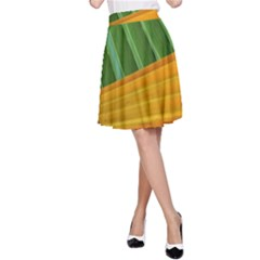 Pattern Colorful Palm Leaves A Line Skirt
