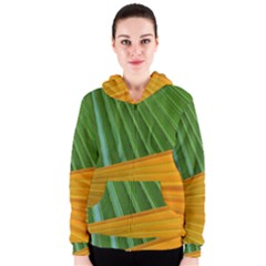 Pattern Colorful Palm Leaves Women s Zipper Hoodie