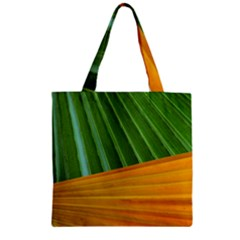 Pattern Colorful Palm Leaves Zipper Grocery Tote Bag