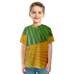 Pattern Colorful Palm Leaves Kids  Sport Mesh Tee