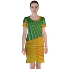 Pattern Colorful Palm Leaves Short Sleeve Nightdress