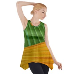 Pattern Colorful Palm Leaves Side Drop Tank Tunic