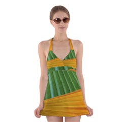 Pattern Colorful Palm Leaves Halter Swimsuit Dress