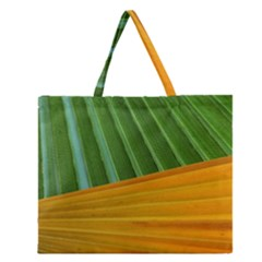 Pattern Colorful Palm Leaves Zipper Large Tote Bag