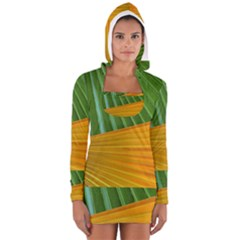 Pattern Colorful Palm Leaves Women s Long Sleeve Hooded T Shirt