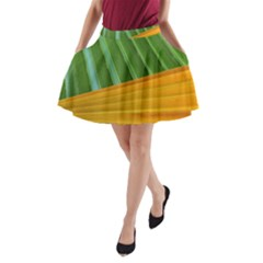 Pattern Colorful Palm Leaves A-Line Pocket Skirt