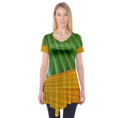 Pattern Colorful Palm Leaves Short Sleeve Tunic